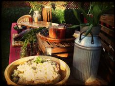 Dynamic table-scaping (and hello #potatosalad!) #catering #partysetup #rusticwedding #weddingcatering #prettyfood