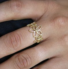 flower ring, flower gold ring, gold ring, gold band, stackable ring, dainty ring, feminine ring, flowers ring, floral ring, thin ring on Etsy, $29.99