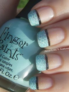 deep french mani with Finger Paints 'Tiffany Imposter'