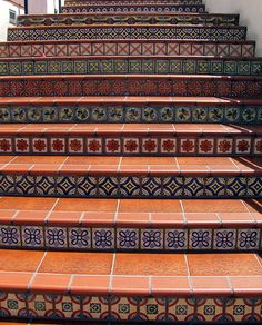 Santa Barbara - beautiful stairs with tile patterns on each. Stairs Window, Tile Stairs, Flooring For Stairs, Concrete Stairs, Basement Stairs, Spiral Stairs Design, Home Stairs Design, Interior Stairs, Stair Art