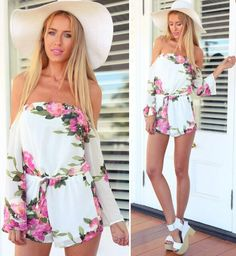 Flower print are more and more popular by girls and ladies. This floral print jumpsuit highlight with off shoulder is so fashion and cool.
