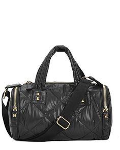 Juicy Couture Hollywood Hideaway Nylon Barrel Duffel Bag Black