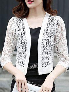 2018 Summer Spring Women Lace Blouse Shirts Korean Fashion Clothing Ladies Kimono Cardigan Female Plus Size Women Clothing Kimono Cardigan, Cardigan Fashion, Plus Size Womens Clothing, Clothes For Women, Korean Blouse, Patron Vintage, Shirt Blouses, Shirts, Mode Hijab