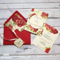 """Купить Приглашение на свадьбу в конверте """"Красные розы"""" - ярко-красный, цветочные приглашения, приглашение в конверте"""
