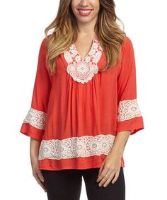 Another great find on #zulily! Coral Crochet-Accent Tunic #zulilyfinds