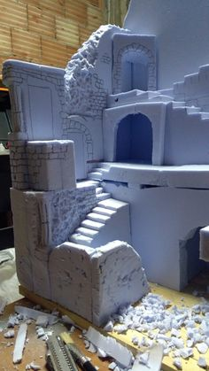 Presepe in polistirolo e stucco – BuzzTMZ Christmas Nativity Scene, Christmas Town, Christmas Villages, Christmas Diy, Putz Houses, Miniature Houses, Miniature Dollhouse, Foam Carving, Pvc Pipe Crafts