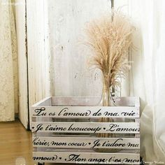 Our French Love Letters Furniture Stencils can be used for either modern or vintage home decor. Create a romantic pattern of French phrases and love quotes on painted furniture such as a table top or