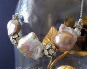 FLOATING PEARLS - baroque pearl and rhinestone bead necklace by the french circus