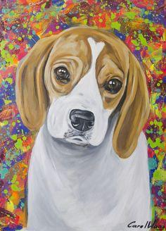Pintura Cao Beagle  Carol Wang Art