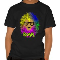 A fabulous illustration of a bespectacled lion; king of the jungle with a big hairy main in bold psychedelic rainbow colors. A bright bold popping graphic top.