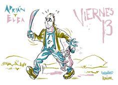 ¡Feliz Viernes 13, humanoides! (Más de Adrián y Elba en adrianyelba.com #webcomic #comic)