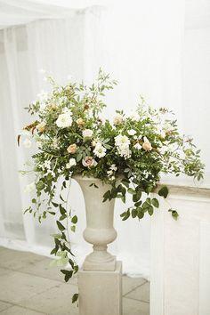 large urn flower arrangement for a wedding Eucalyptus Centerpiece, Wildflower Centerpieces, Large Flower Arrangements, Wedding Arrangements, Cut Flowers, White Flowers, Wedding Events, Weddings, Wedding Decorations