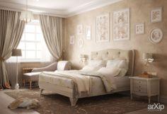 Спальня в Буньково: интерьер, квартира, дом, спальня, неоклассицизм, 20 - 30 м2 #interiordesign #apartment #house #bedroom #dormitory #bedchamber #dorm #roost #neoclassicism #20_30m2