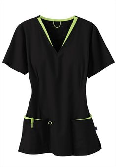 Urbane layered v-neck scrub top. - Scrubs and Beyond Medical Uniforms, Work Uniforms, Stylish Scrubs, Scrubs Uniform, Womens Scrubs, Scrub Pants, Cute Nurse, Scrub Tops, Costume