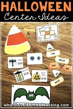 What do you teach on Halloween? We don't teach as much as allow students to rotate through engaging centers throughout the day. Here are six Halloween centers that you can use in your classroom this October. Autumn Activities For Kids, Halloween Activities, Holiday Activities, Halloween Fun, Kindergarten Activities, Classroom Activities, Monster Activities, Teaching Math, Classroom Ideas