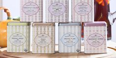Harney & Sons Organic #Tea #Packaging #Tins - love the soft pastels