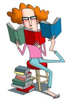 Devouring books / Devoradora de libros (ilustración de Simon Cooper)