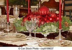Red Christmas Centerpiece on Formal Dining Table -