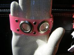 Pink Bracelet  Gage Size Eyelets  Handmade  by identicalcousins, $11.20