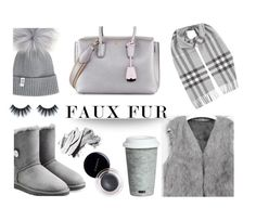 """#fauxfurcoats"" by thebigg2 ❤ liked on Polyvore featuring UGG, Burberry, Fitz & Floyd, MCM, Huda Beauty, SUQQU and Bobbi Brown Cosmetics"
