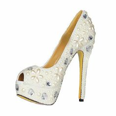 AwesomeNice Patent Leather And Pearl Stiletto Heel Peep Toe Pumps Party / Evening Shoes http://newfashiontrendsonline.blogspot.com