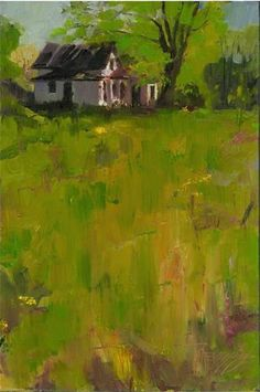 Abandoned House plein air, oil landscape painting by Robin Weiss - Original Fine Art for Sale - © Robin Weiss