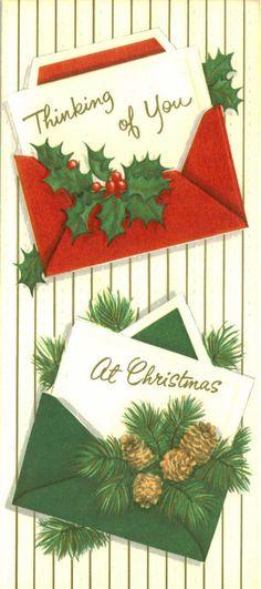 Vintage Christmas Card, Thinking of You Christmas Tree Scent, Christmas Mail, Christmas Holidays, Christmas Crafts, Vintage Greeting Cards, Christmas Greeting Cards, Christmas Greetings, Holiday Cards, Vintage Christmas Images