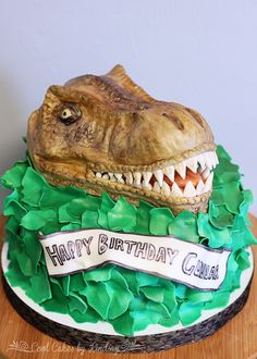 """T-Rex Cake! All edible! Sculpted head from """"Fruity Pebbles Treats"""" Dinosaur Cake!"""