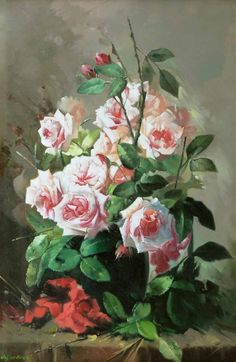 Roses by Turkish Impressionist Painter Elçi Erdiren Impressionist, Artist, Painters, Istanbul, Roses, Pink, Artists, Rose, Pink Roses