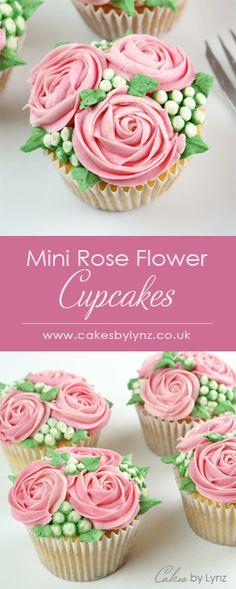 Mini Rose flower cupcake - Piped flowers, buds and leaves, to look like little bouquets. Step by step tutorial to show you all the piping techniques u. Frost Cupcakes, Fondant Cupcakes, Cupcake Piping, Easter Cupcakes, Cupcake Frosting, Fun Cupcakes, Cupcake Cakes, Wedding Cupcakes, Valentines Cakes And Cupcakes