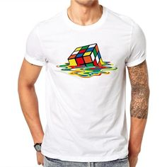 100% Cotton Simple Rubik s Cube Printed Design Men T-shirt Male Cool Tops  Hipster Short Sleeve Casual Tee T Shirts. RopaPantalones Cortos Estampados Hombres ... 1c626146663