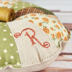 Personalised Monogrammed Pinwheel Pin Cushion with Wooden Bobbin Spool £15.00