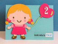 Cricut Baby Steps cartridge birthday card for little girl.