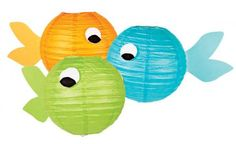 Transform paper lanterns (available at Michaels stores) into fish using card stock paper for tails and felt for eyes. Hang with fishing line.