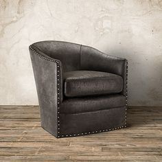 "Giles 28"" Eco Leather Swivel Chair in Palance Steel 
