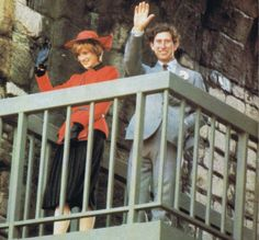 27 October 1981 HRH Prince Charles and his late wife, HRH Princess Diana  at Caernarvon Castle (scene of Prince Charles' investiture 12 years ago) during Diana's first visit to Wales, UK, in 1981.