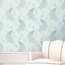 Fine Decor Empress Peacock Wallpaper Duck Egg Blue Teal
