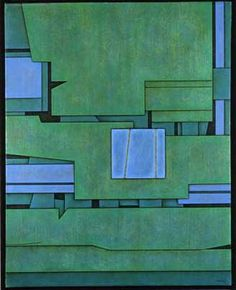 Gunther Gerzo Landscape in Blue and Green 1975 oil on canvas 33.37 x 28.24 in…