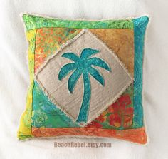 "Palm tree boho pillow cover patchwork with teal, green, orange, yellow and turquoise batiks and natural distressed denim 16"" by Beachrebel"