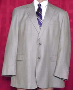 Stafford Executive  Beige Wool Glen Plaid 2 Button Sport Coat Size 44R #Stafford #TwoButton