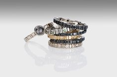 Stacking rings from Pavers collection in gold and blackened Platinum~Sterling blend, set with rustic diamond and black sapphires. Alternative Metal, Black Sapphire, Stacking Rings, Artisan Jewelry, 18k Gold, Jewerly, Fine Jewelry, Diamonds, Jewelry Design