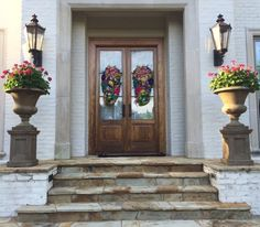 Spring Swags on a customer's beautiful double doors!