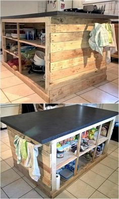When it comes to the decoration of the kitchen, some people find uniquely styled kitchens and professionals to install it; but there is no need to waste the money if you decide to invest time in creating the repurposed wood pallet Kitchen Island. Kitchen Island Table With Seating, Pallet Kitchen Island, Kitchen Island On Wheels, Farmhouse Kitchen Island, Kitchen Island Decor, Rustic Kitchen, Kitchen Black, Kitchen Cabinets, New Kitchen