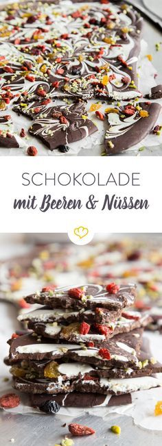 Broken chocolate with pistachios and goji berries - Schokolade Chocolate Bark, Homemade Chocolate, Picnic Snacks, Exotic Food, Breakfast Dessert, Candy Recipes, No Bake Desserts, Pistachio, Bakery