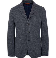Barena Navy Slim-Fit Unstructured Checked Cotton-Blend Blazer | MR PORTER