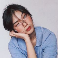"""and this piece is called """"What Up, I'm Dana, I'm And I Never Learned How To Read"""" (aka i took too many photos that day so pls bear wt me) / vera specs in silver from ! Ulzzang Korean Girl, Cute Korean Girl, Ulzzang Couple, Asian Girl, Selfie Tips, Selfies, Selfie Poses, Light Blue Aesthetic, Aesthetic Girl"""