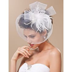 Gorgeous Tulle With Feather Bridal Veil/ Headpiece – possibly a flower instead for a non-wedding look