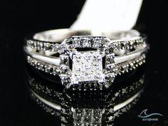 1.30 Ct Ladies D/VVS1 Lab Diamond Engagement Ring Princess Cut White Gold Over #aonejewels #SolitairewithAccents #EngagementRingWeddingRingPartyWear