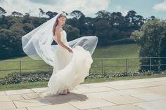 I love a dress with movement, organza wedding dress and veil by Christine Trewinnard.