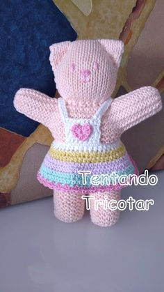 Trying to Knit - Spielzeug Baby Knitting Patterns, Knitted Doll Patterns, Crochet Bunny Pattern, Crochet Animal Patterns, Knitted Dolls, Baby Patterns, Crochet Toys, Free Knitting, Knitted Teddy Bear